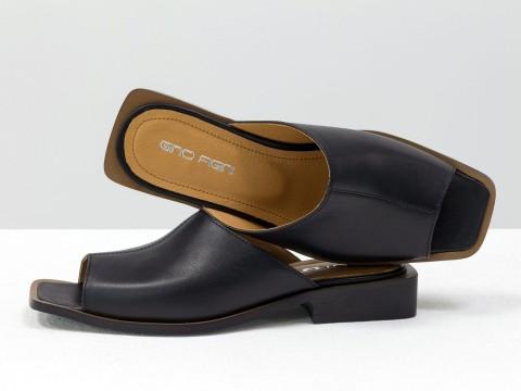 Стильные дизайнерские черные шлепки с квадратным носиком из натуральной итальянской кожи на квадратном современном каблуке, С-2039-02