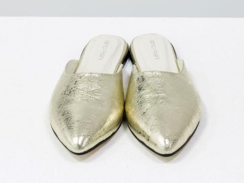 Женские кожаные бабуши золотого цвета с острым носочком