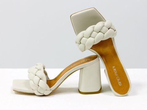 """Дизайнерские шлепанцы """"косички"""" на расклешенном каблуке из натуральной итальянской кожи цвета слоновой кости, С-2041-02"""