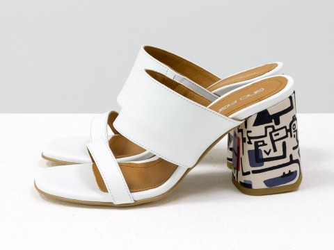 Классические босоножки белого цвета на расклешенном каблуке, С-2016-10
