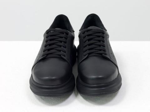 Черные женские кеды из натуральной кожи на утолщенной подошве, Т-17026д-44