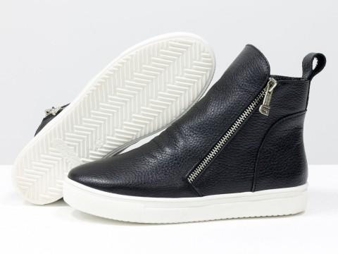 Женские спортивные ботинки из натуральной кожи черного цвета