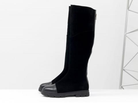 Замшевые осенние ботфорты черного цвета с кожаным носочком, М-111д-11