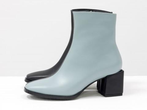 Женские классические ботинки черно-голубого цвета из натуральной кожи, Б-2061-04