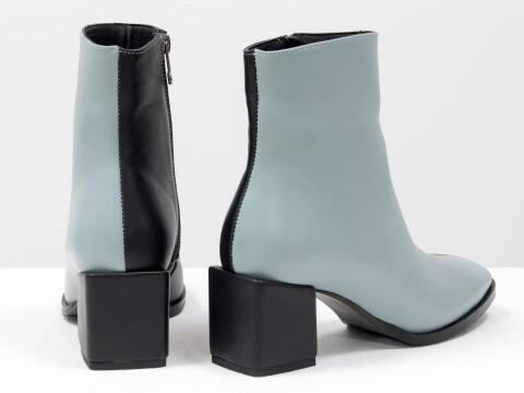 Женские  ботинки из натуральной черно-голубой кожи на квадратном каблуке, Б-2061-04