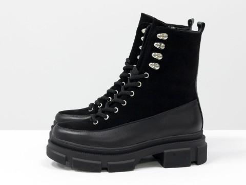 Женские черные  ботинки из натуральной кожи  и замши на тракторной подошве, Б-2075-02