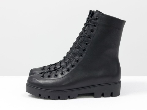 Женские ботинки на шнуровке из натуральной кожи, Б-17459-04