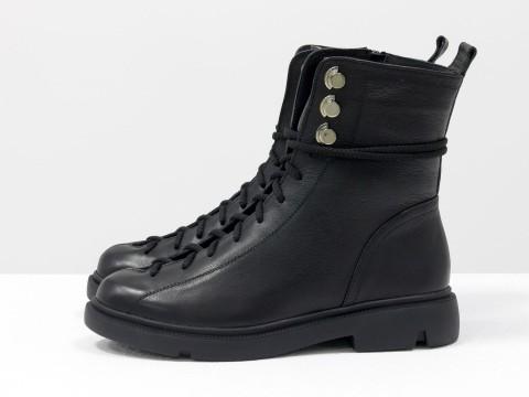 Женские зимние ботинки черные из кожи на шнуровке, Б-1824-04