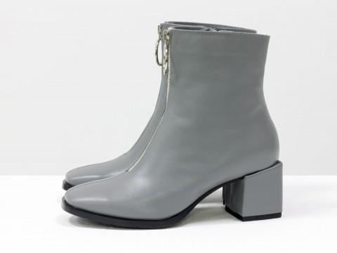 Женские классические ботинки серого цвета из натуральной кожи, Б-2077-03