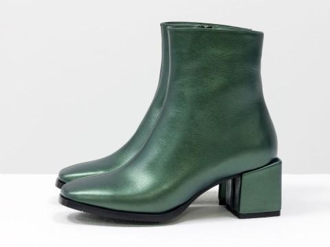 Женские классические ботинки зеленого цвета из натуральной кожи, Б-2061-06