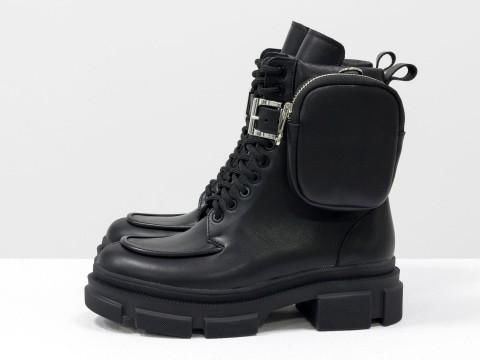 Женские  ботинки из натуральной кожи на тракторной подошве со съемными кармашками, Б-20105-01