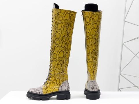 """Эксклюзивные кожаные ботфорты на шнуровке из натуральной итальянской кожи горчичного и серо-коричневого цвета с текстурой """"питон"""", М-19123-02"""