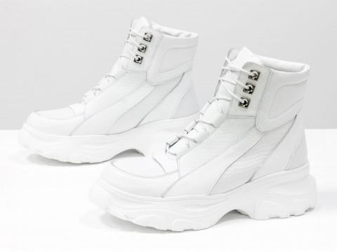 Женские белые ботинки на утолщенной подошве из натуральной кожи