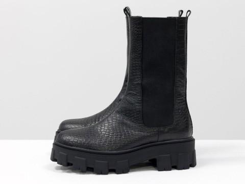 """Высокие  ботинки """"челси"""" из черной кожи с текстурой """"крокодил"""" на тракторной подошве, Б-2078-04"""