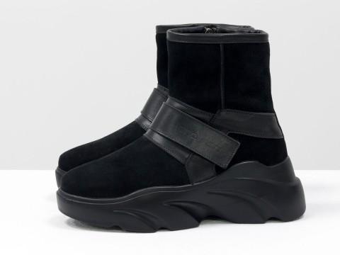 Женские спортивные ботинкина липучке из натуральной черной замши
