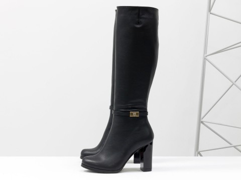 Сапоги на высоком каблуке из натуральной кожи черного цвета, М-17404-01