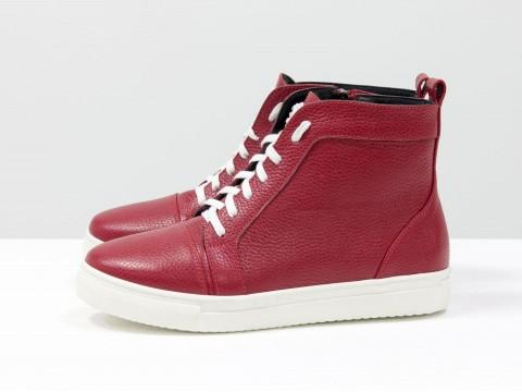 Ботинки женские из натуральной кожи красного цвета, Б-430-11