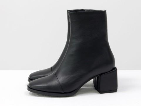 Женские классические ботинки черного цвета из натуральной кожи, Б-2086-04