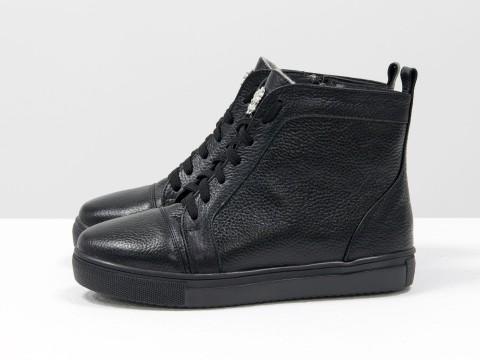 Высокие кеды на шнуровке из натуральной кожи черного цвета  на черной подошве, Б-430-08