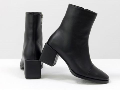 Женские  ботинки из натуральной черной кожи на квадратном каблуке, Б-2086-04