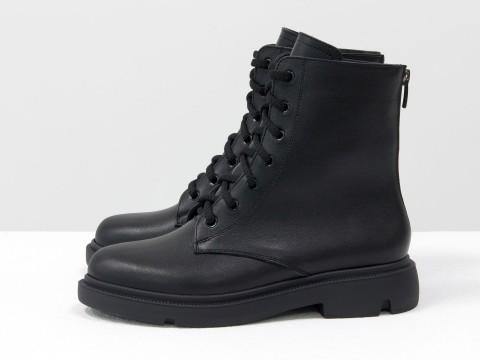 Женские ботинки черные из кожи на шнуровке, Б-20103-01