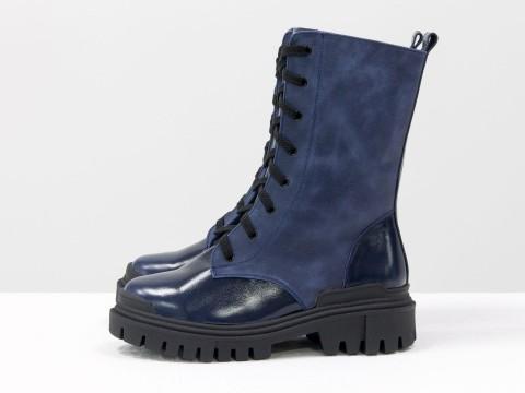 Женские  ботинки из натуральной синей кожи и вставками из синей лаковой кожи на тракторной подошве, Б-16077/1-11
