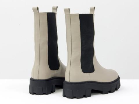 """Завышенные ботинки """"челси"""" из натуральной  кожи светло-бежевого цвета, Б-2078-02"""