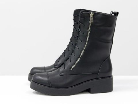 Ботинки-милитари из натуральной кожи на шнуровке c металлическими молниями на устойчивой подошве, Б-1667/1-02