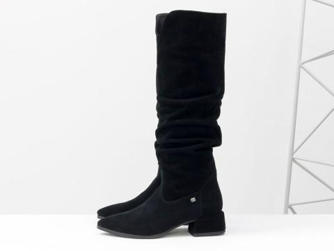 Cапоги из натуральной черной замши на маленьком каблуке, М-2083-02