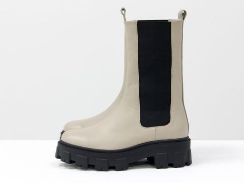 """Высокие  ботинки """"челси"""" из светло-бежевой кожи на тракторной подошве, Б-2078-02"""