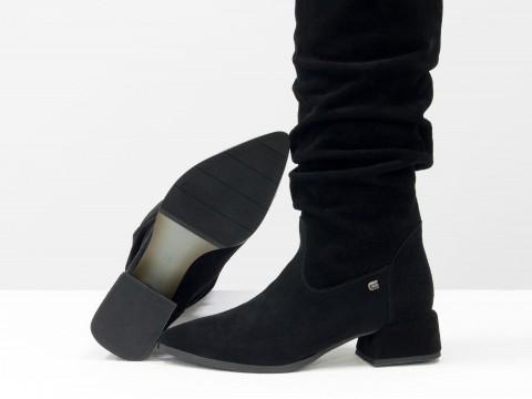 Осенние сапоги черного цвета из натуральной замши на маленьком каблуке, М-2083-02
