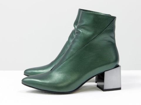 Элегантные ботильоны из натуральной мягкой итальянской кожи на квадратном каблуке, Б-2073-04