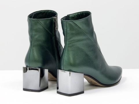 Элегантные зеленые  ботильоны из натуральной мягкой итальянской  кожи с блеском на невысоком каблуке, Б-2073-04