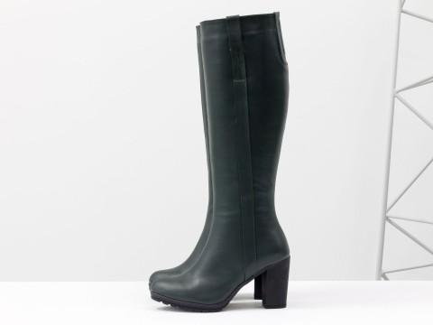 Сапоги женские из натуральной кожи темно-зеленого цвета на устойчивом каблуке, М-120-06
