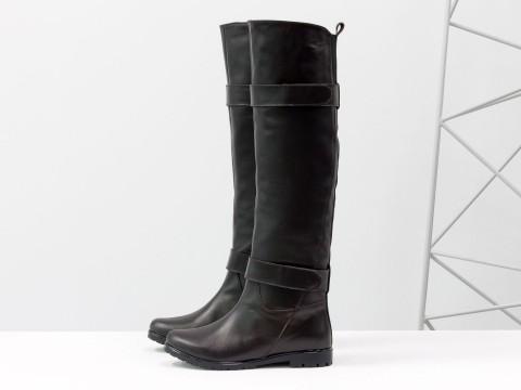 Сапоги - ботфорты из коричневой кожи на низком ходу, Осень-Зима, М-16079-03