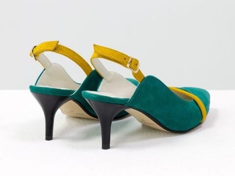 Женские туфли с открытой пяткой из натуральной замши мятного цвета на шпильке