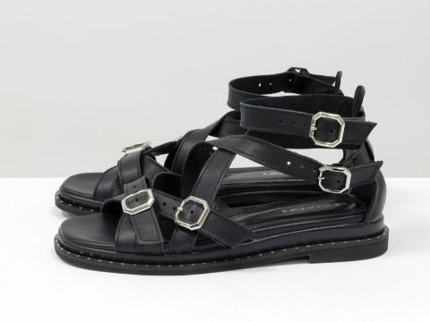 Черные босоножки на низком ходу из кожи, С-1942-01