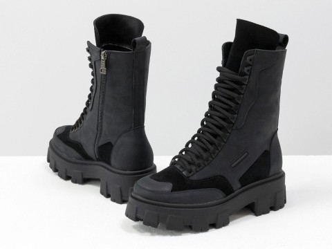 Женские спортивные ботинки из натуральной черной кожи на шнуровке, Б-1985-12
