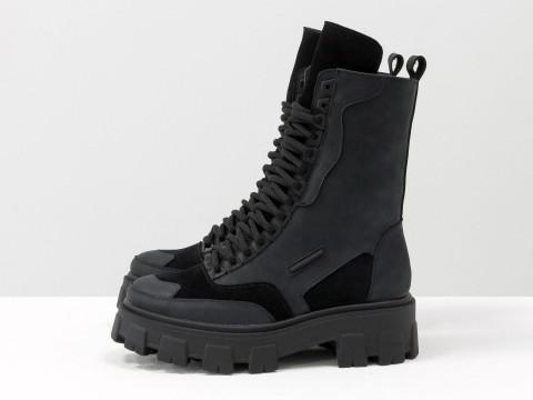 Женские спортивные ботинки из черной кожи на модной тракторной подошве, Б-1985-12