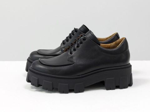 Женские туфли, которые сочетают в себе стиль дерби и лоферов на утолщенной тракторной подошве из натуральной кожи, Т-2046-01