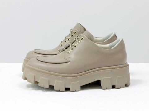 Женские туфли, которые сочетают в себе стиль дерби и лоферов на утолщенной тракторной подошве из натуральной кожи, Т-2046-03