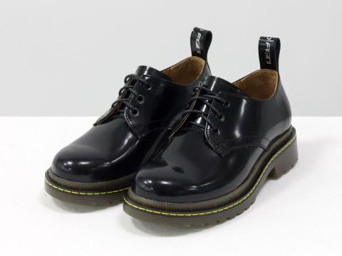 Женские черные туфли на тракторной подошве из натуральной кожи, Т-2048-01