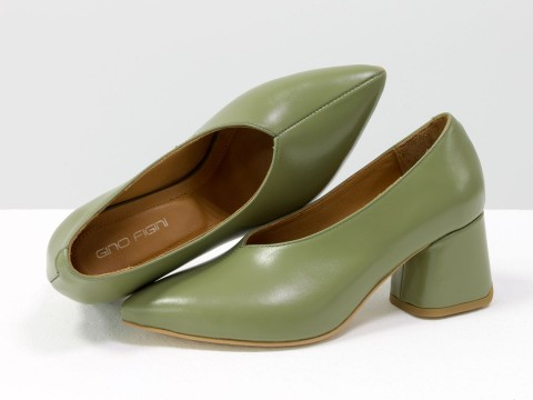 Дизайнерские туфли-перчатки на невысоком обтяжном каблуке из натуральной итальянской кожи фисташкового цвета,  Т-2050-01