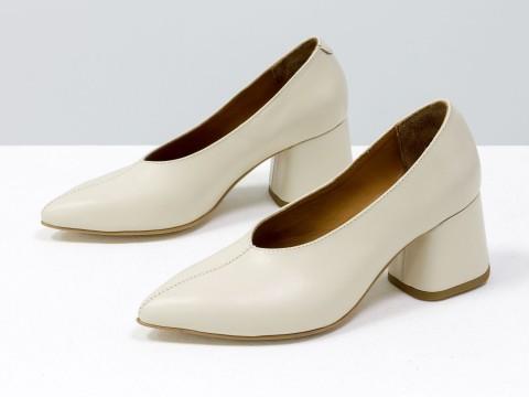 Дизайнерские туфли-перчатки на невысоком обтяжном каблуке из натуральной итальянской кожи молочного цвета,  Т-2050-02