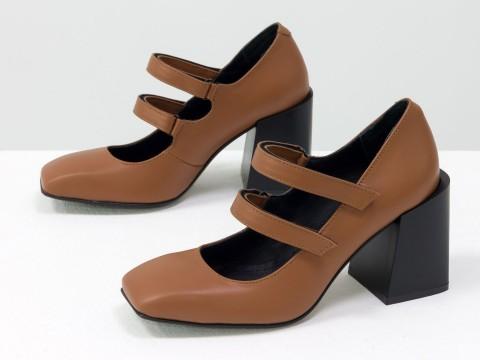 Дизайнерские туфли из натуральной коричневой кожи на устойчивом квадратном каблуке,  Т-2049-02