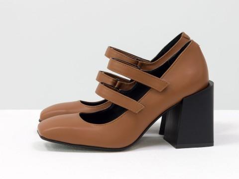 Дизайнерские туфли из натуральной кожи желто-коричневого цвета  на устойчивом квадратном каблуке,  Т-2049-02