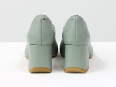 Дизайнерские туфли-перчатки на невысоком обтяжном каблуке из натуральной итальянской кожи серо-голубого цвета,  Т-2050-07