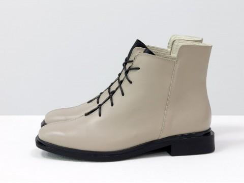 Женские классические ботинки из кожи светло-бежевого цвета цвета, Б-19142-13