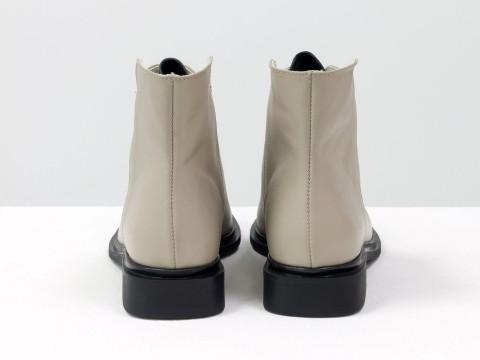 Женские ботинки с квадратным носком из натуральной матовой кожи бежевого цвета, Б-19142-13