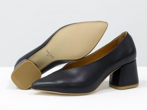 Дизайнерские туфли-перчатки на невысоком обтяжном каблуке из натуральной итальянской кожи черного цвета,  Т-2050-03
